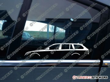2x Car Silhouette sticker - BMW e61 5-series Touring estate wagon (2004-2009) 530d, 525i, 520i, 530i